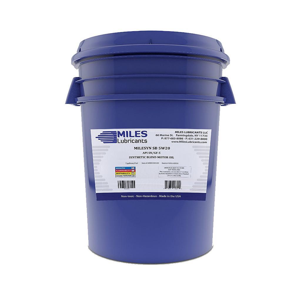 Milesyn SB 5W20 API GF-5/SN 5 Gal. Synthetic Blend Motor Oil Pail