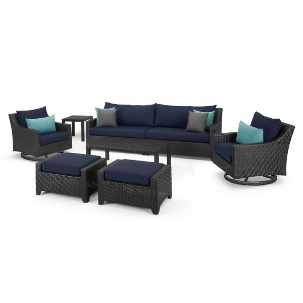 Rst Brands Deco 8 Piece Sofa And Motion Club Chair Wicker Patio Conversation Set With Blue Cushions Op Pess7mt Blu K The Home Depot