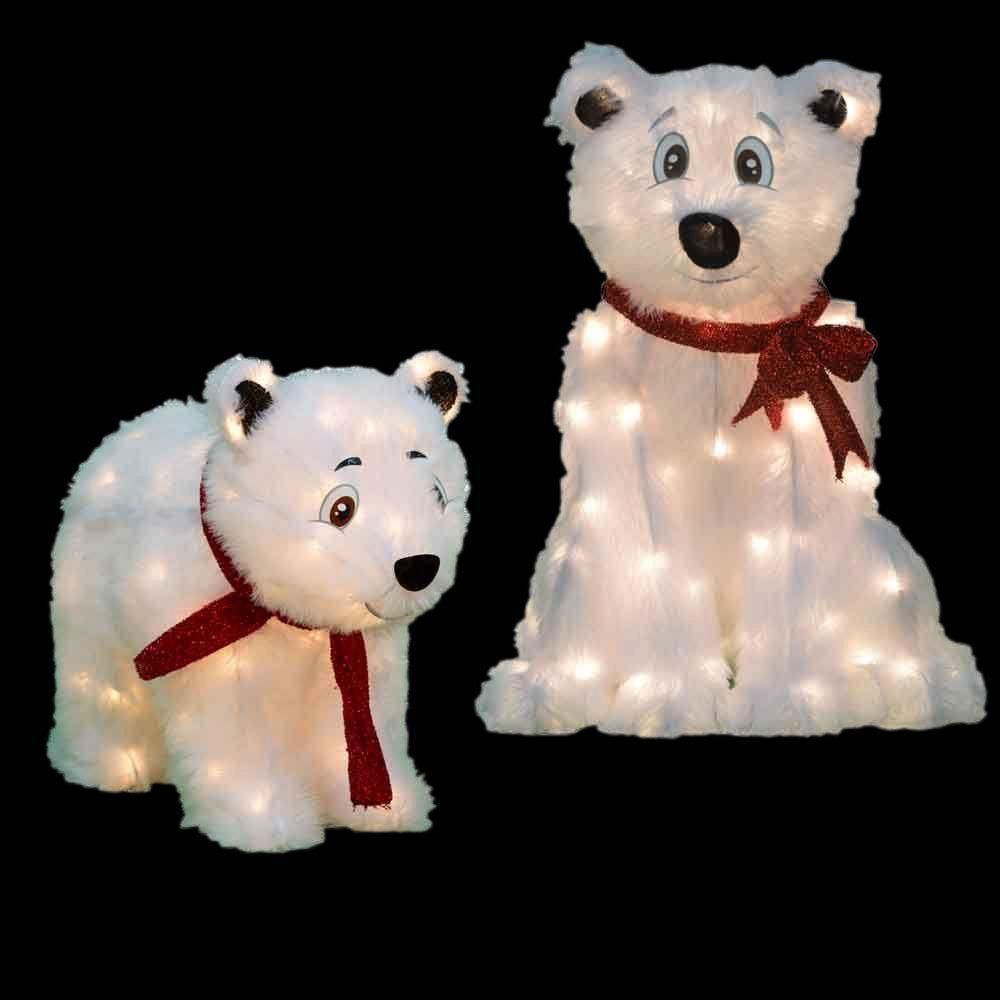 pre lit led polar bears set - Pre Lit Polar Bear Christmas Decoration Set Of 3