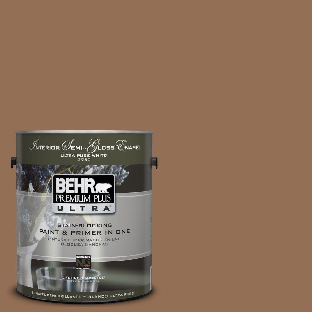 BEHR Premium Plus Ultra 1 gal. #UL140-21 Toffee Bar Semi-Gloss ...