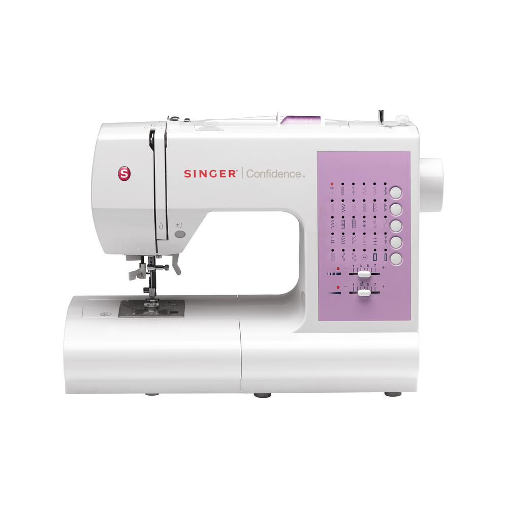 Confidence 30-Stitch Sewing Machine with Automatic Needle Threading, White/Purple