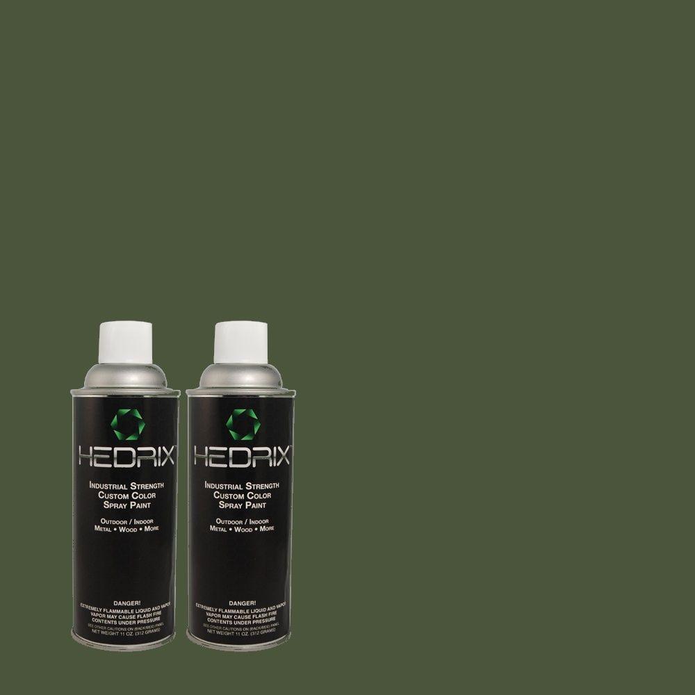 Hedrix 11 oz. Match of 470F-7 Deep Jungle Flat Custom Spray Paint (2-Pack)