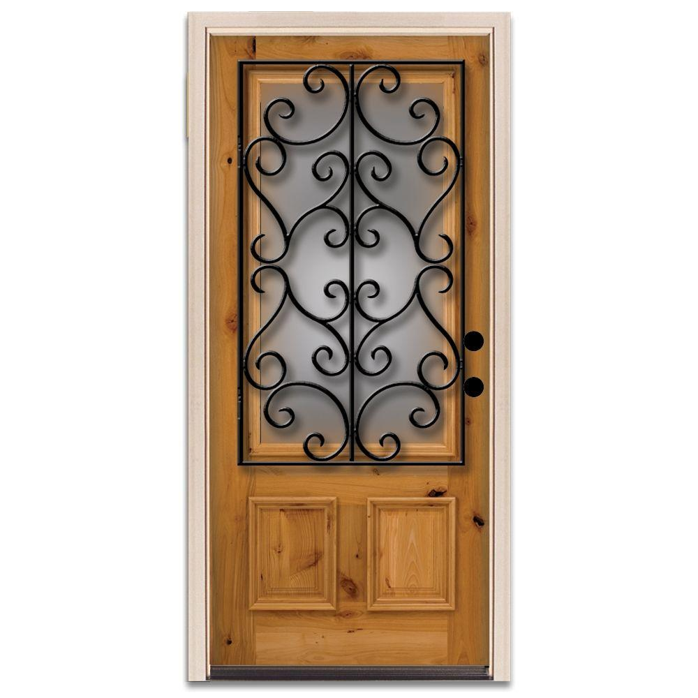 Steves & Sons Charleston 3/4 Lite Prefinished Knotty Alder Wood Prehung Front Door-DISCONTINUED