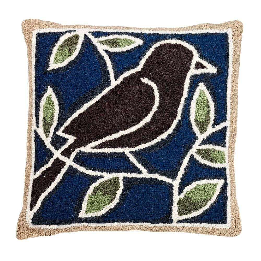 Home Decorators Collection 18 in. W Bird Hook Blue Green and Brown Pillow