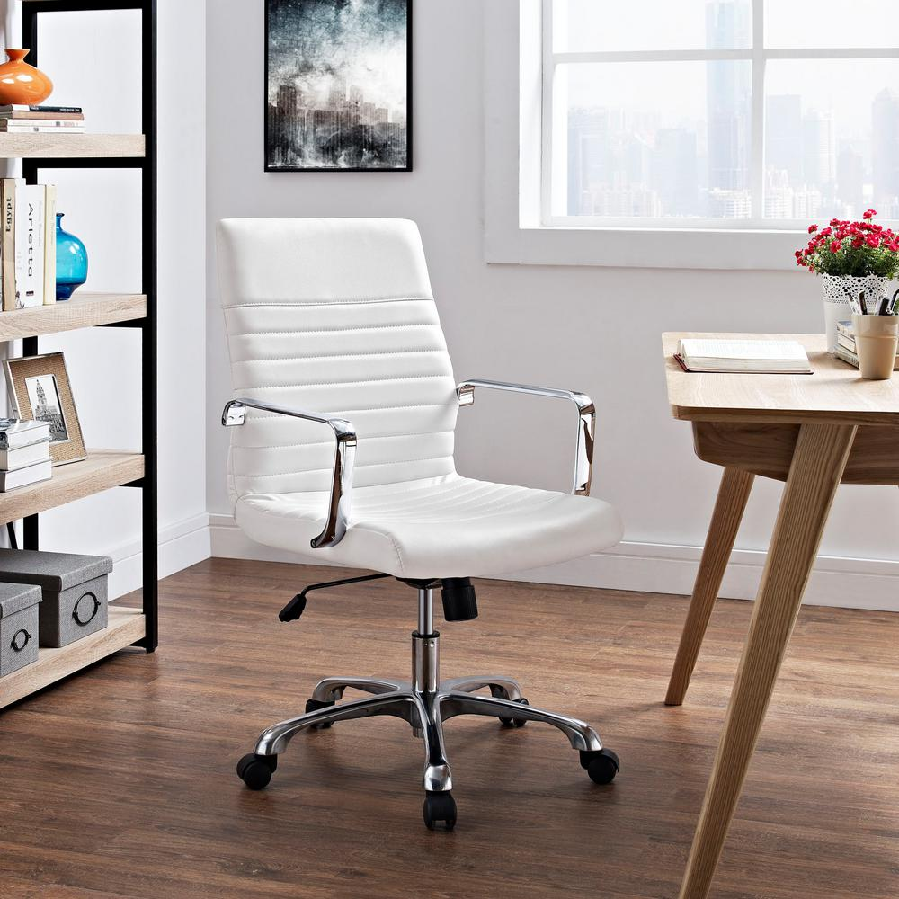 Modway Finesse Mid Back Memory Foam Office Chair In White