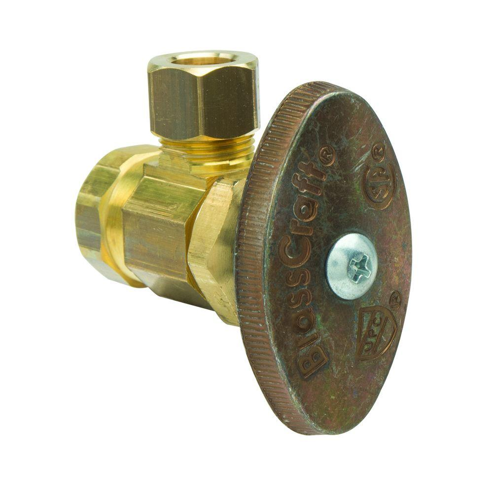 BrassCraft 3/8 in. FIP Inlet x 3/8 in. O.D. Compression Outlet Brass Multi-Turn Angle Valve (5-Pack)