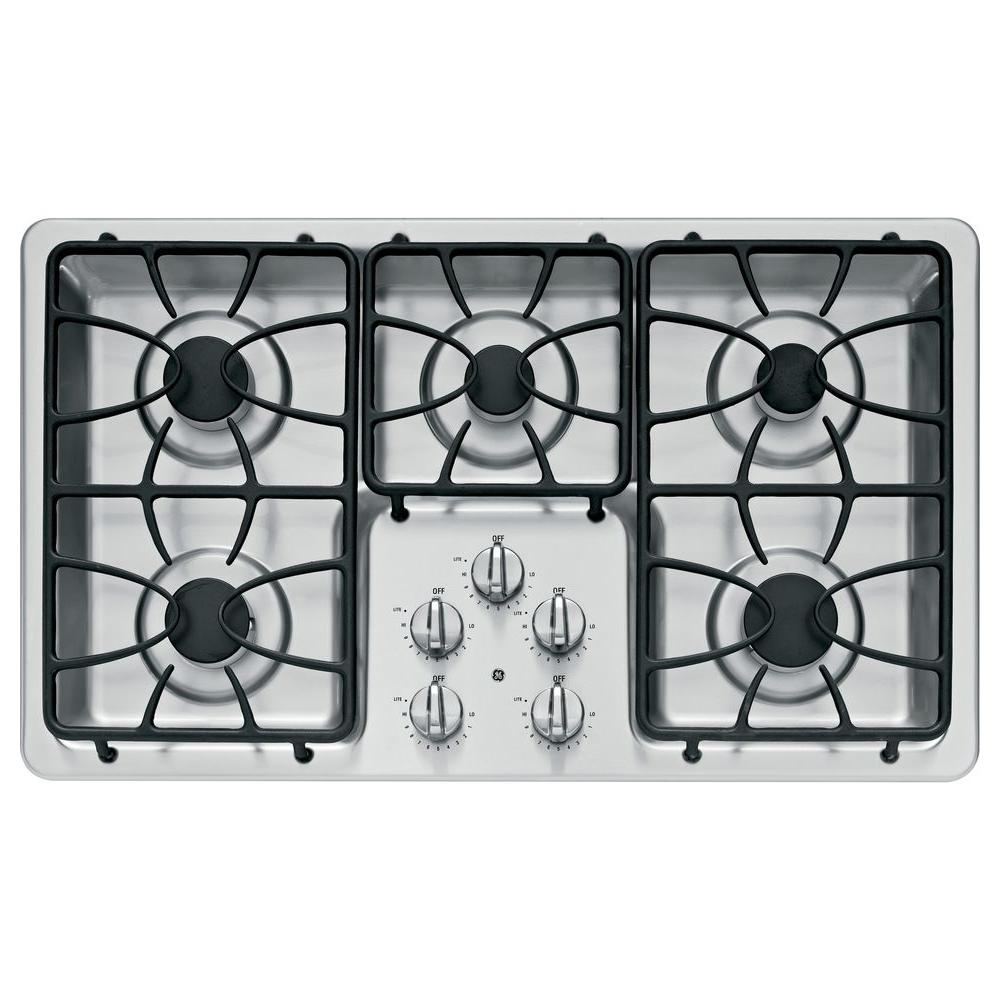 GE 36 in. Gas Cooktop in Stainless Steel with 5 Burners including 2 Precise Simmer Burners