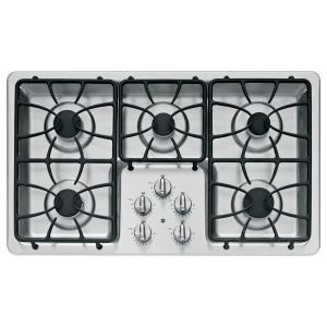 gas cooktop in stainless steel with 5 burners including 2 precise simmer burners
