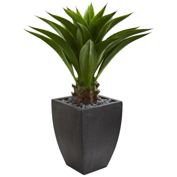 Nearly Natural Indoor Agave Artificial Plant in Black Planter 8130