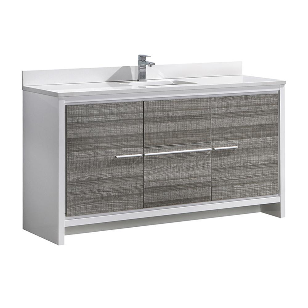Allier Rio 60 in. Modern Bathroom Vanity in Ash Gray with Ceramic Vanity Top in White