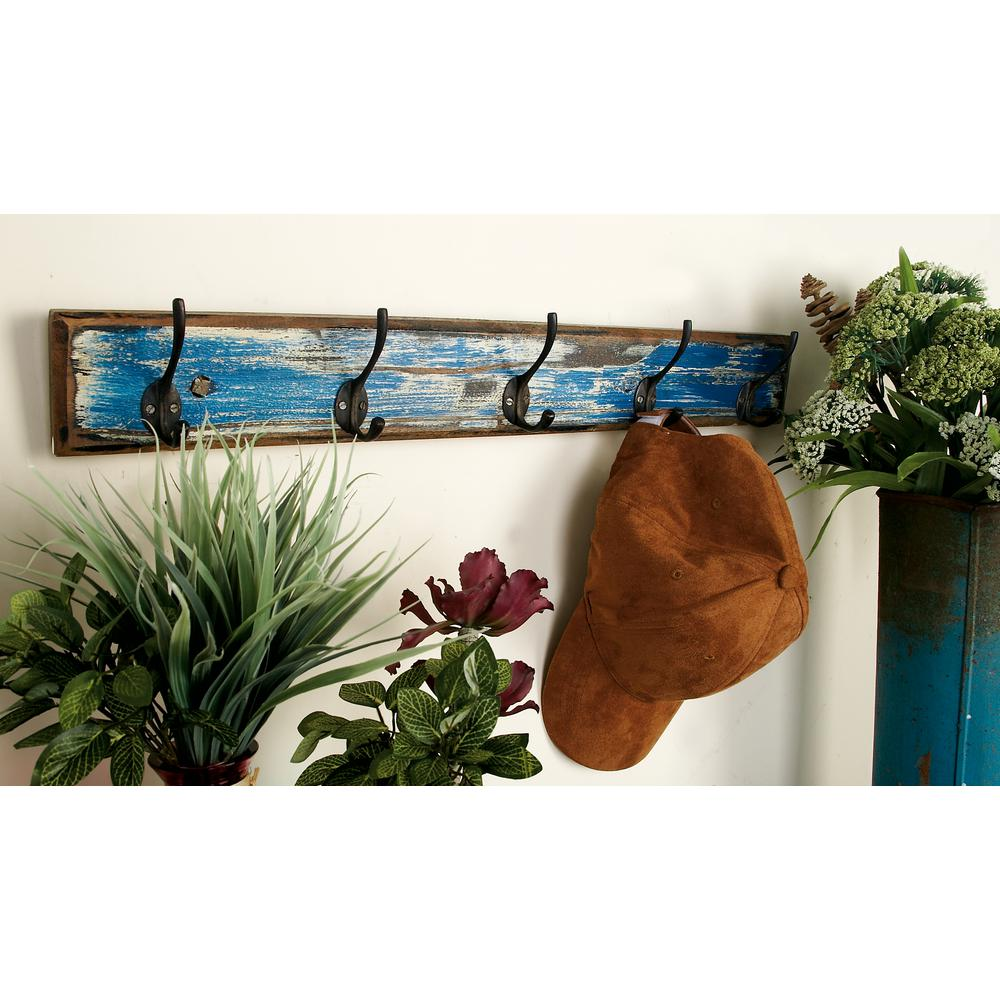24 in. Distressed Turquoise Blue and Black Double Hook Rack