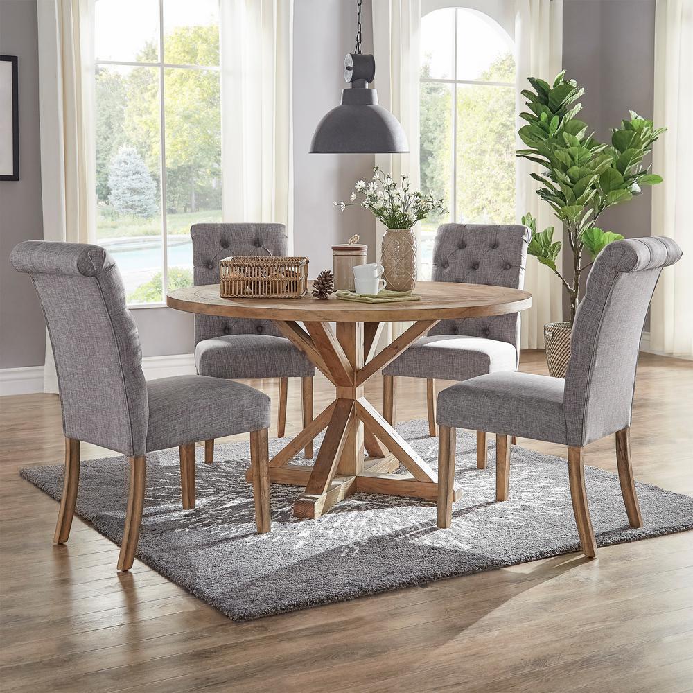 HomeSullivan Huntington Grey Linen Button Tufted Dining Chair (Set of 2)