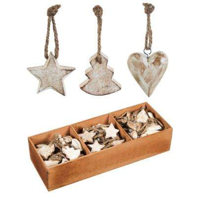 1-1/2 in. White Wood Christmas Ornament Set (90-Pack)