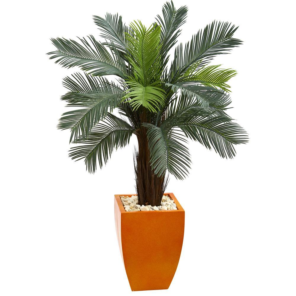 4.5 ft. High Indoor/Outdoor Cycas Artificial Tree in Orange Planter