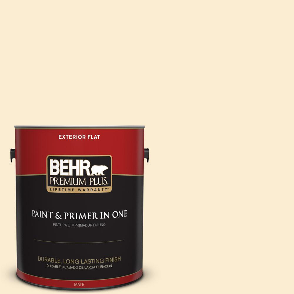 BEHR Premium Plus 1-gal. #OR-W4 Nice Cream Flat Exterior Paint