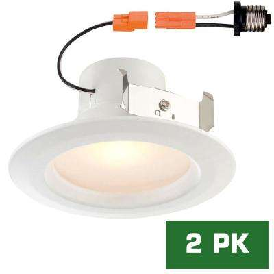 Standard Retrofit 4 in. White Recessed Trim Warm LED Ceiling Light with 92 CRI, 3000K (2-Pack)