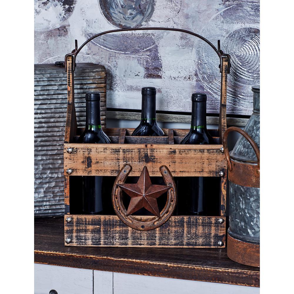 Distressed Brown Wood 6-Bottle Rectangular Wine Caddy
