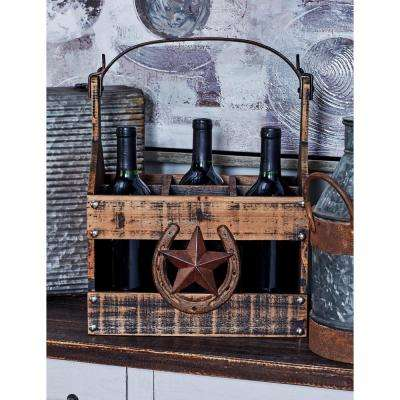 Distressed Brown Wood 6-Bottle Rectangular Wine Caddy