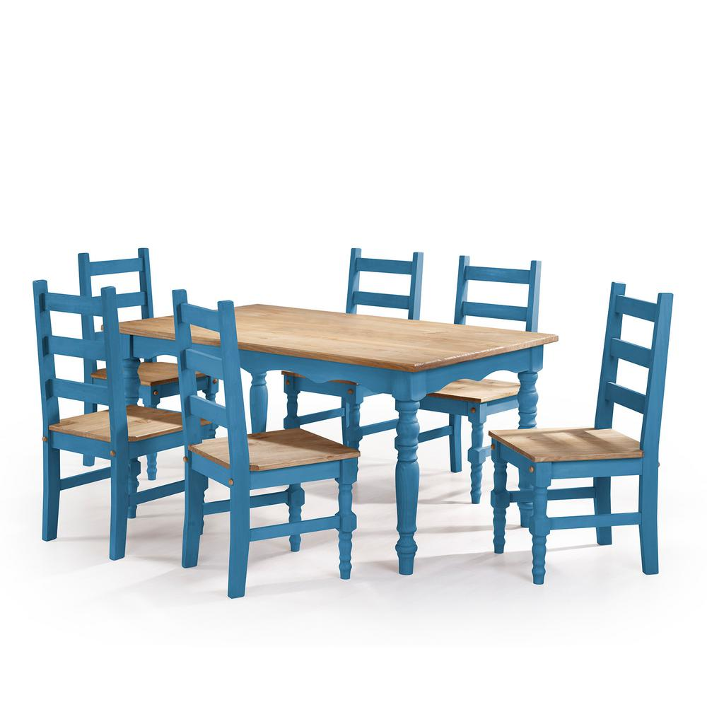 Manhattan Comfort Jay 7 Piece Blue Wash Solid Wood Dining Set With 6 Chairs