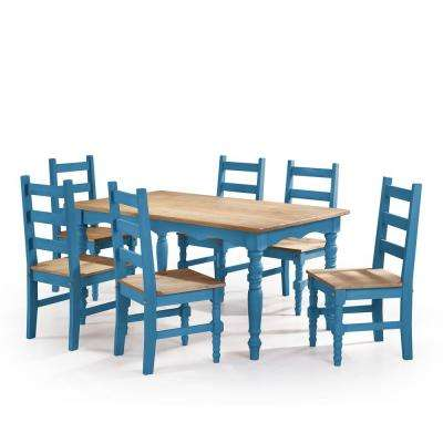 Marvelous Jay 7 Piece Blue Wash Solid Wood Dining Set With 6 Chairs And 1