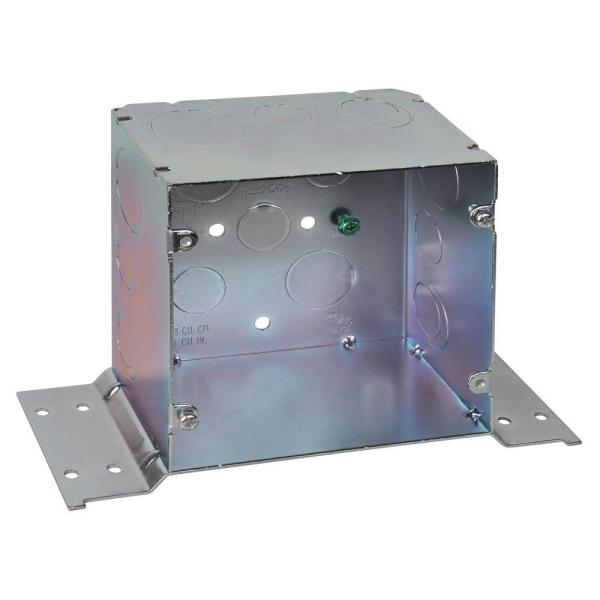 2-Gang 5 in. Metal Square Electrical Box with 1/2 in. to 3/4 in. and 1 in. Knockouts and CV Bracket (20 per Case)