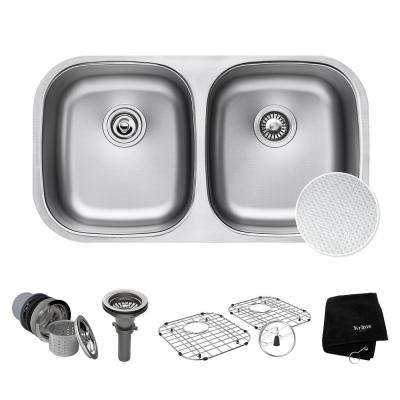 Outlast Microshield Undermount Stainless Steel 32 in. 50/50 Double Bowl Kitchen Sink Kit