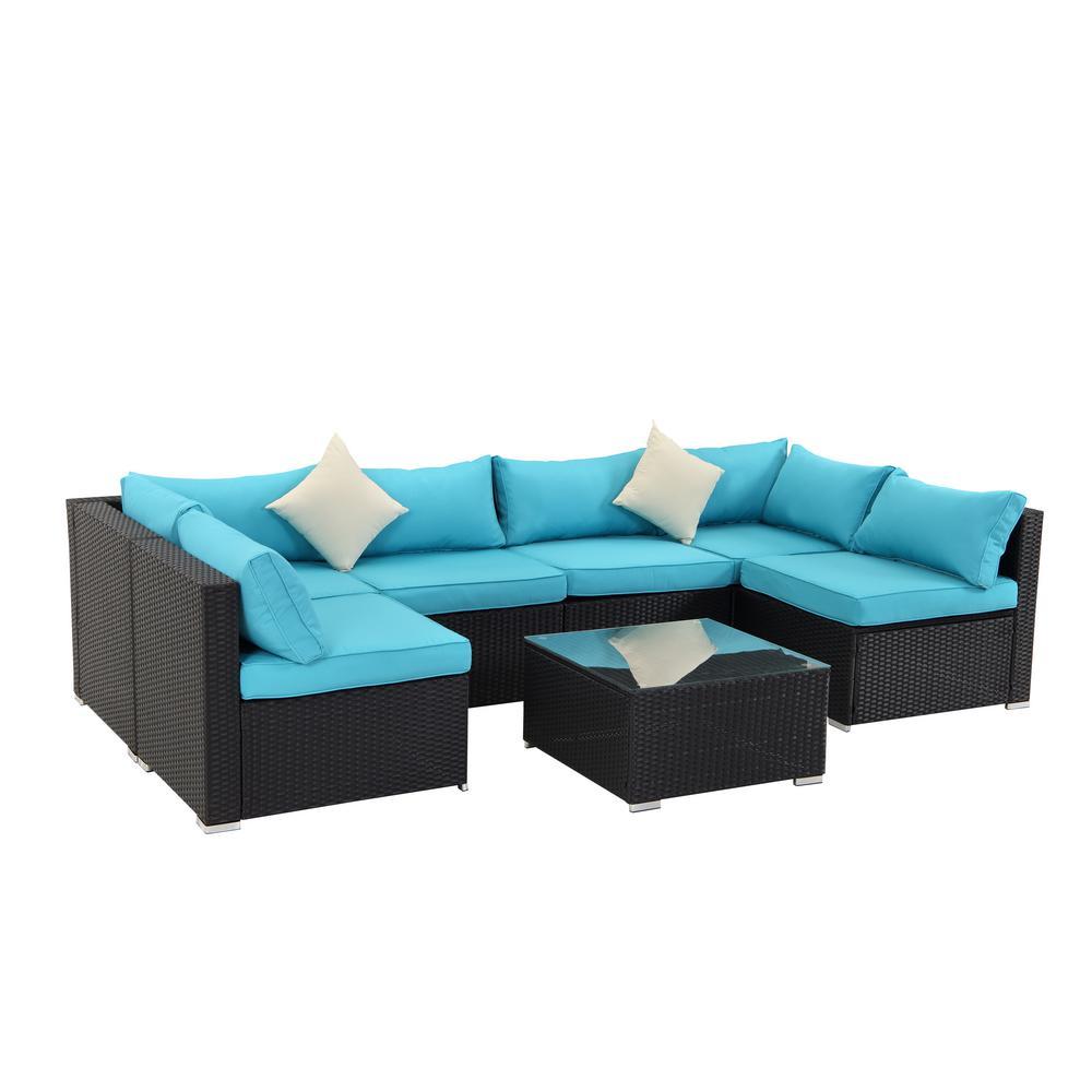 CASAINC Dark Brown 7-pc PE Wicker Outdoor Patio Conversation Sofa w/ Blue Foam Cushions