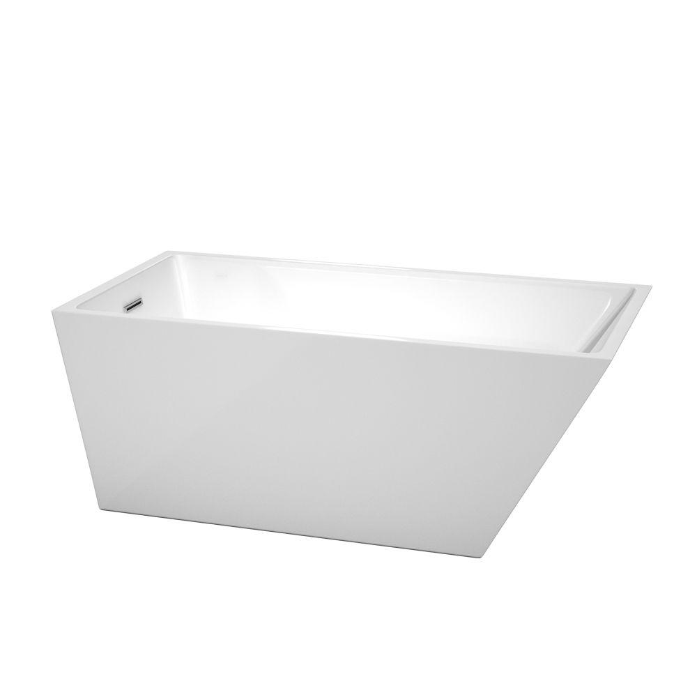Hannah 59 in. Acrylic Flatbottom Back Drain Soaking Tub in White