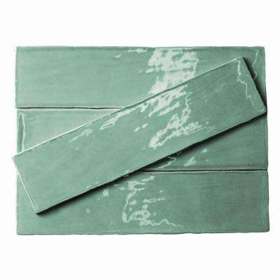 Catalina Green Lake Ceramic Wall Tile - 3 in. x 12 in. Tile Sample