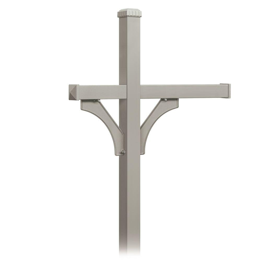 Deluxe 2-Sided In-Ground Mounted Post for 3 Designer Roadside Mailboxes, Nickel