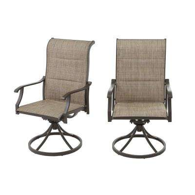 Riverbrook Espresso Brown Swivel Aluminum Padded Sling Outdoor Patio Dining Lounge Chairs (2-Pack)