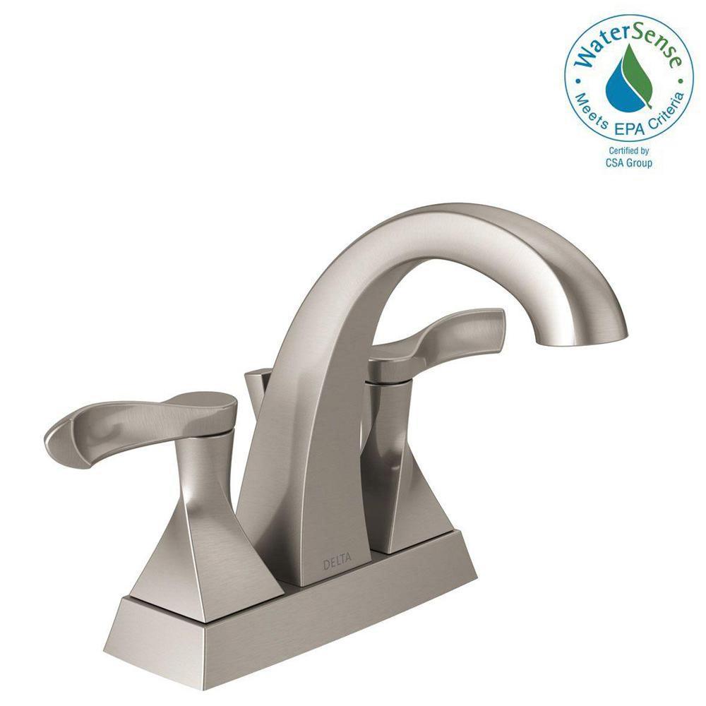 Delta Everly 4 inch Centerset 2-Handle Bathroom Faucet in SpotShield Brushed Nickel by Delta