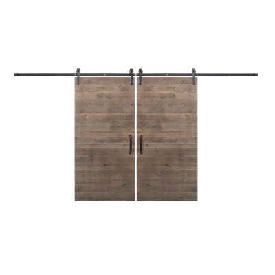Bi-Parting 36 in. x 84 in. Rustica Reclaimed Home Depot Gray Barn Doors with Oil Rubbed Bronze Sliding Hardware
