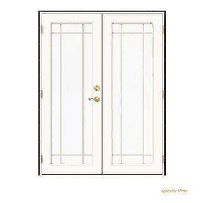 60 in. x 80 in. W-2500 Bronze Clad Wood Right-Hand 9 Lite French Patio Door w/White Paint Interior