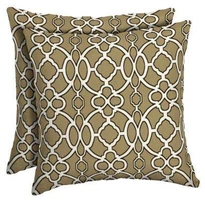16 x 16 Sandstone Sinclair Trellis Square Outdoor Throw Pillow (2-Pack)
