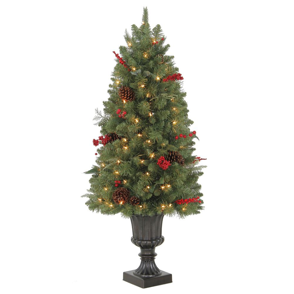 Home Accents Holiday 4 ft. Pre-Lit Winslow Fir Potted Artificial Christmas Tree with 286 Tips and 100 Clear Lights