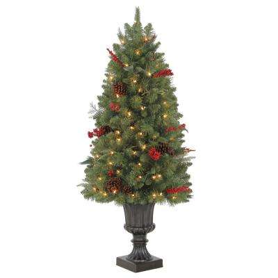 4 ft. Pre-Lit Winslow Fir Potted Artificial Christmas Tree with 286 Tips and 100 Clear Lights