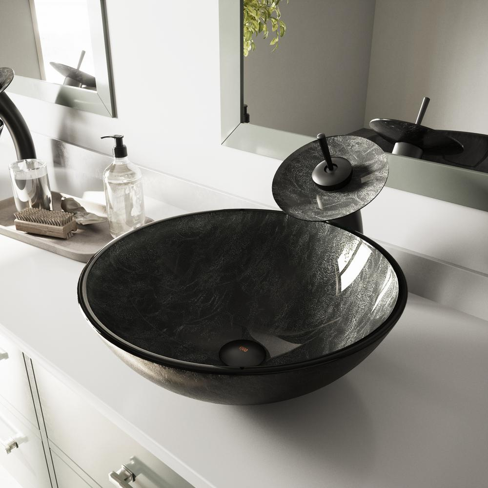 Vigo Glass Vessel Sink In Gray Onyx And Waterfall Faucet