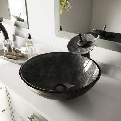 Glass Vessel Sink in Gray Onyx and Waterfall Faucet Set in Matte Black