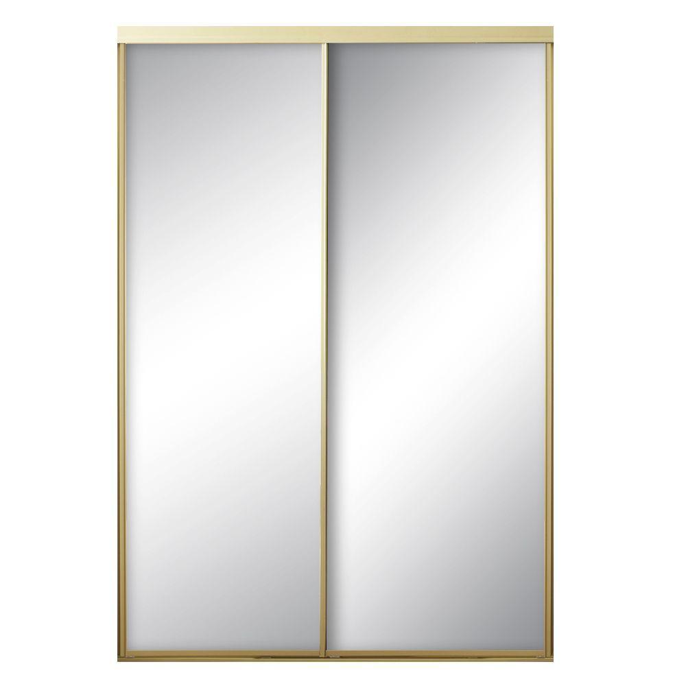 contractors wardrobe 95 in x 80 1 2 in econoline aztec steel gold framed mirror bypass sliding. Black Bedroom Furniture Sets. Home Design Ideas