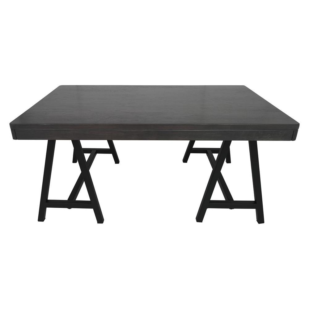 Rubberwood Coffee Table.Noble House Hunter Farmhouse Gray Rubberwood Coffee Table With Black