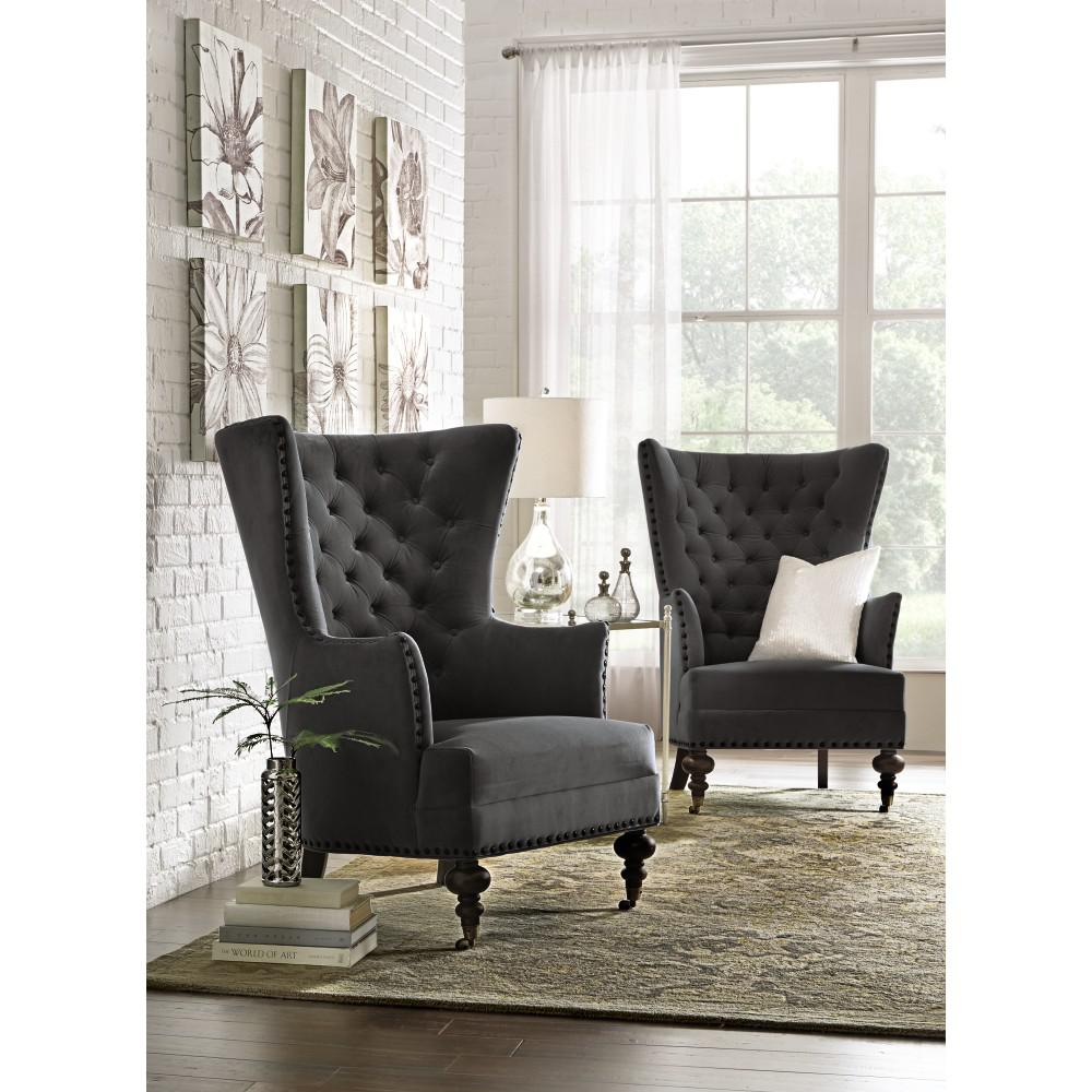 Remmy Velvet Slate Upholstered Arm Chair