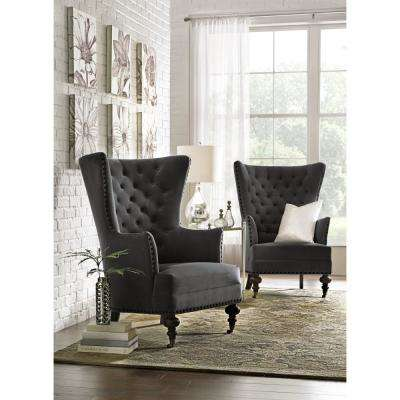 living room accent chairs with arms. Remmy Velvet Slate Upholstered Arm Chair Home Decorators Collection  Chairs Living Room Furniture The