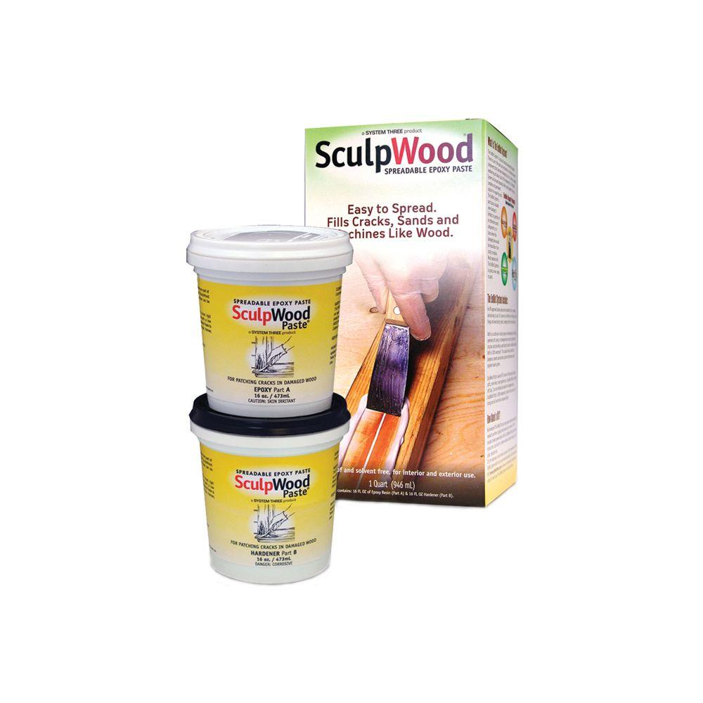 SYSTEM THREE 1 qt. SculpWood Paste Two Part Epoxy Paste Kit with ...