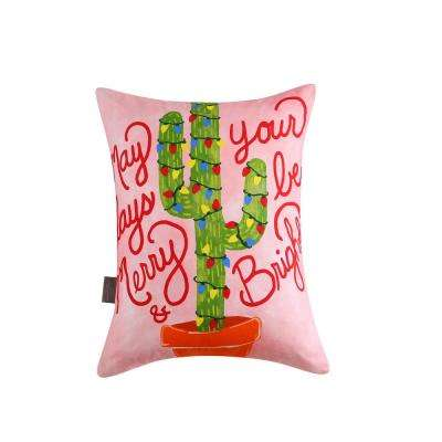 Christmas Cactus Reversible 12 in. x 16 in. Decorative Pillow