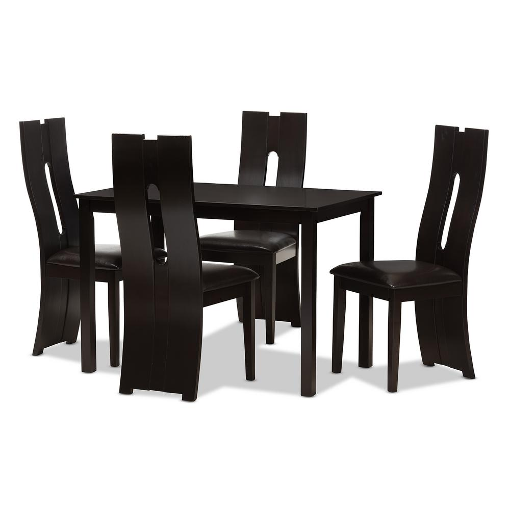 Delicieux Baxton Studio Alani 5 Piece Dark Brown Dining Set