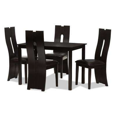 Alani 5-Piece Dark Brown Dining Set