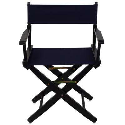 Extra-Wide 18 in. Black Frame/Navy Canvas American Hardwood Directors Chair