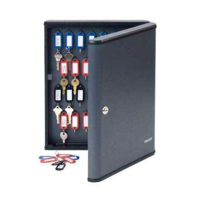 Security Key Cabinet safe with high-impact plastic end caps for 60 keys, Charcoal Gray