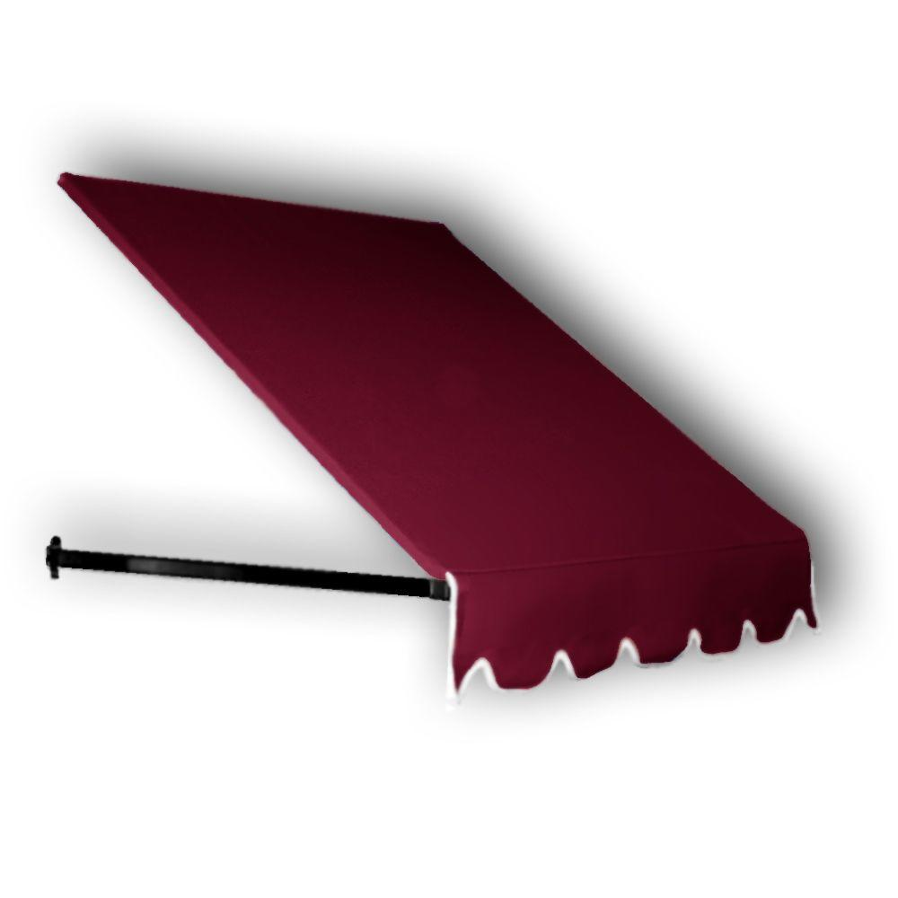 AWNTECH 4 ft. Dallas Retro Awning for Low Eaves (18 in. H x 36 in. D) in Burgundy, Red